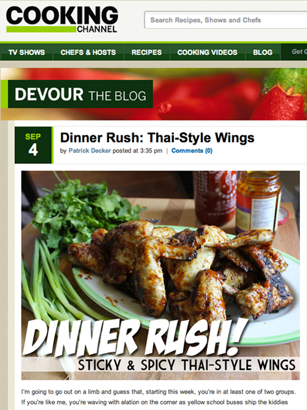 "Weekly Contributor to Cooking Channel's ""Devour"" Blog"