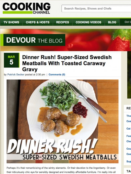 Devour Blog cover Dinner Rush Swedish Meatballs