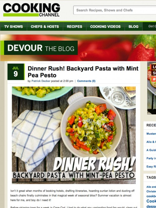 Cooking channels devour blog dinner rush backyard pasta with cooking channels devour blog dinner rush backyard pasta with mint pea pesto forumfinder Image collections