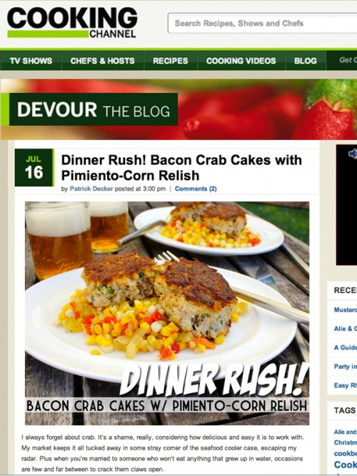 Devour Blog Bacon Crab Cakes with Pimiento-Corn Relish cover