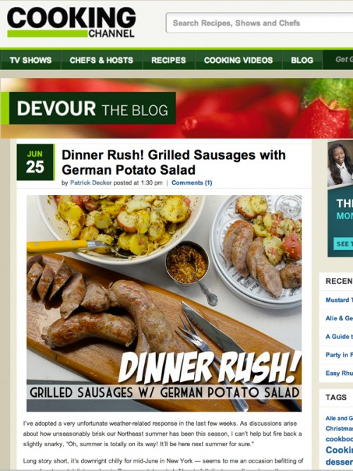 Devour Blog Grilled Sausages with German Potato Salad cover