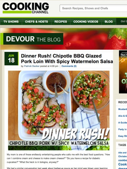 Devour Blog Pork Loin with Watermelon Salsa cover