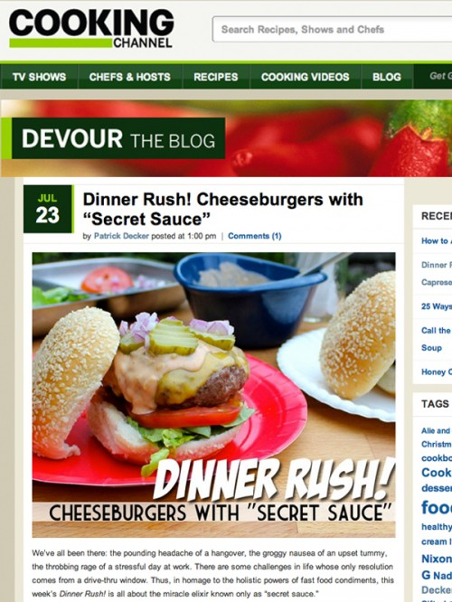 Devour Blog Cheeseburgers with Secret Sauce cover