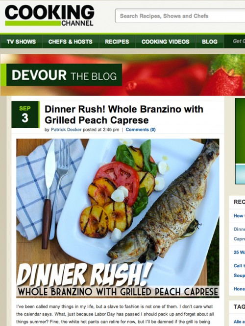 Devour Blog Whole Branzino with Grilled Peach Caprese cover